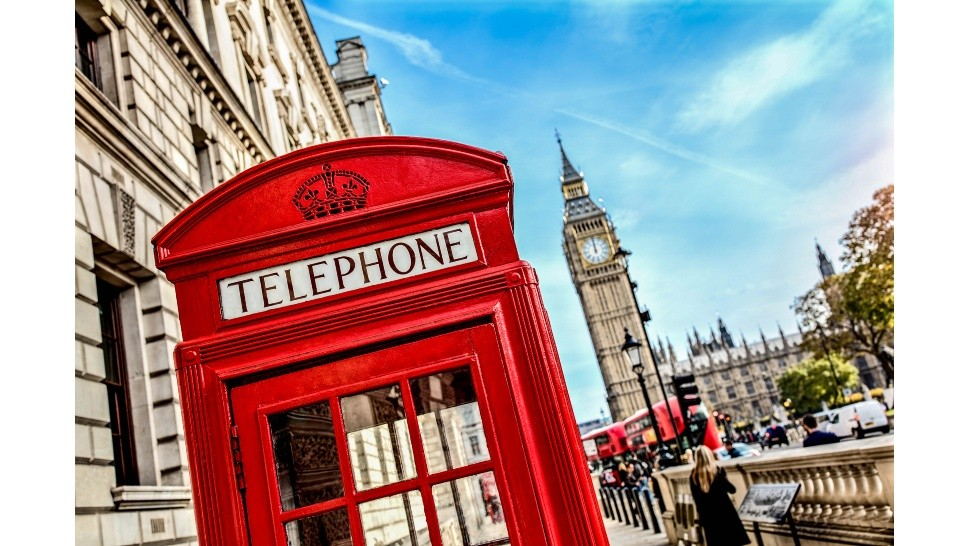 London telephone booth and big ben - London telephone booth in front of  big ben and the houses of parliament in England - Not Released (NR)