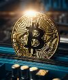 Cryptocurrency golden bitcoin coin. Conceptual image for crypto currency, toned